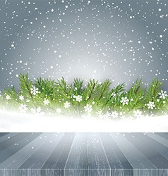 wooden table looking out to Christmas background vector image vector image