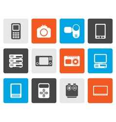 Flat technical media and electronics icons vector