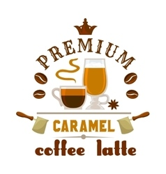 Premium coffee latte caramel icon vector