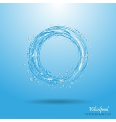 Water circle whirlpool realistic water droplets vector