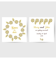 Wedding postcard with yellow flowers vector