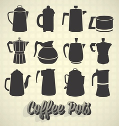Coffee pot silhouette icons vector