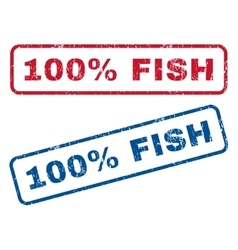 100 percent fish rubber stamps vector