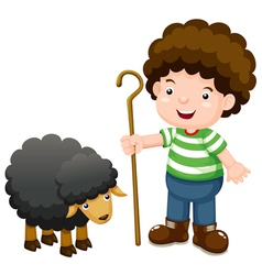 Little shepherd and black sheep vector