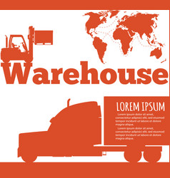 Warehouse banner with forklift truck silhouette vector