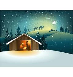 Cartoon nativity scene with holy family vector image
