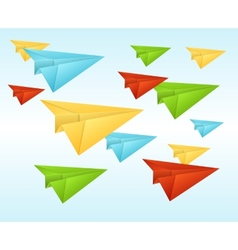 White paper planes on blue sky vector image