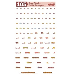 Cars trucks and public transport icons vector