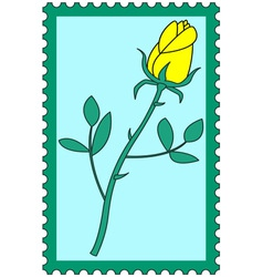 Flower on stamp vector image