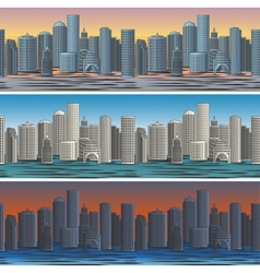 City skylines in morning afternoon and evening vector