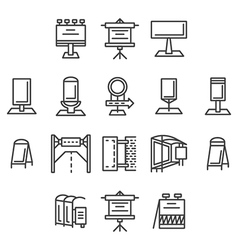 City advertisement flat line icons vector