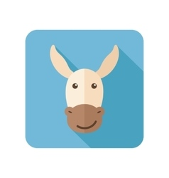 Donkey flat icon with long shadow vector