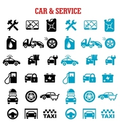 Transportation and car service flat icons vector