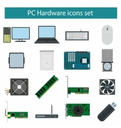 Pc hardware icons set vector