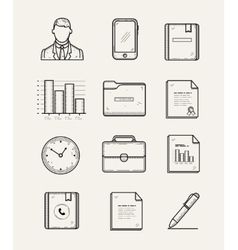 Modern office and business icons set line vector