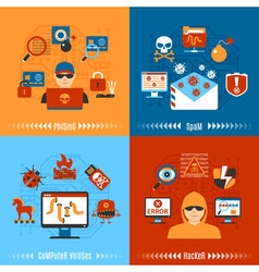 Flat hacker concept set vector