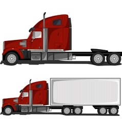 Red truck with trailer vector