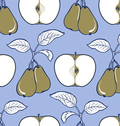 apple and pear background pattern in blue and gree vector image vector image