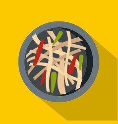 Asian salad icon flat style vector