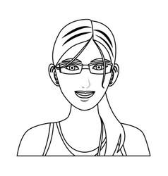 Beauty sport woman using smart glasses vector