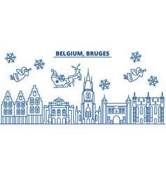 Belgium bruges winter city skyline merry vector