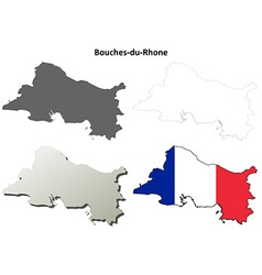 Bouches-du-rhone provence outline map set vector
