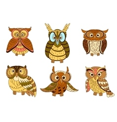 Cartoon funny owlets and eagle owl birds vector