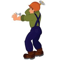 Cartoon man in constructor uniform and hard hat vector