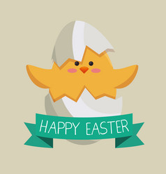 Chick coming out of the egg easter card vector