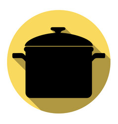 Cooking pan sign flat black icon with vector