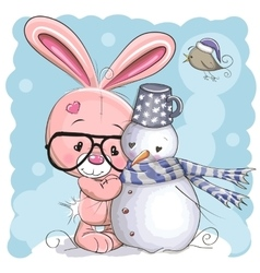 Cute Bunny and Snowman vector image vector image