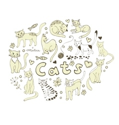 Cute hand drawn cats colorful set arranged in vector image