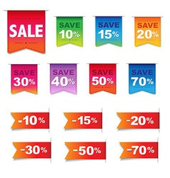 Discount labels and ribbons set vector