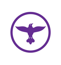 Dove spreading wings circle vector
