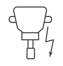 Driller line icon sign on vector