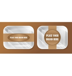 Empty white styrofoam plastic food tray vector