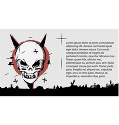 evil skull a terrible page of the book template vector image