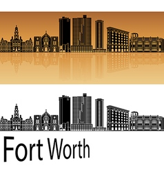 Fort Worth skyline in orange vector image