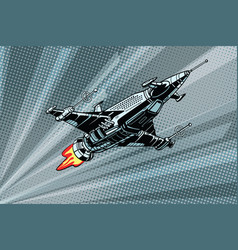 futuristic outer space battle starship vector image