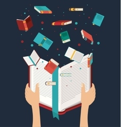 Hand with open book design vector