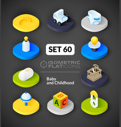 Isometric flat icons set 60 vector image