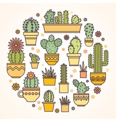 linear design potted cactus elements of a vector image vector image
