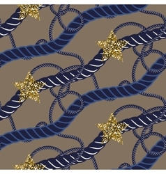 Navy blue marine rope knot seamless pattern with vector image