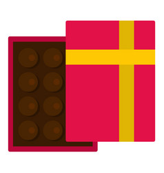 Pink box with chocolate icon isolated vector