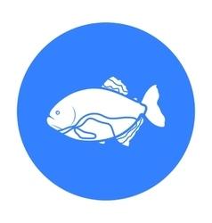 Piranha fish icon black Singe aquarium fish icon vector image vector image
