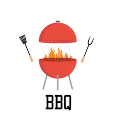 red barbecue concept flat bbq party grill party vector image