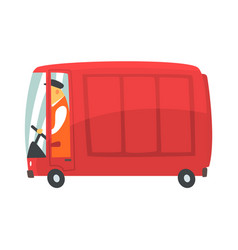 Red cartoon retro cargo van commercial transport vector