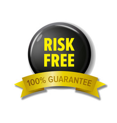 risk free label in black and yellow colors vector image vector image