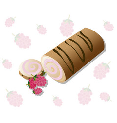 Roll cakes with raspberry fruits sweets vector