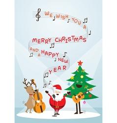 Santa claus snowman reindeer sing a song vector